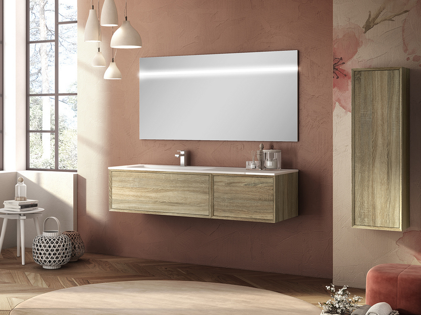 BRERA BATHROOM FURNITURE 140 CM 2 CASSETTI ROVERE LARIX LEFT WASHBASIN GLOSSY WHITE