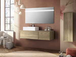 BRERA BATHROOM FURNITURE 140 CM 2 CASSETTI ROVERE LARIX AND LEFT TOP