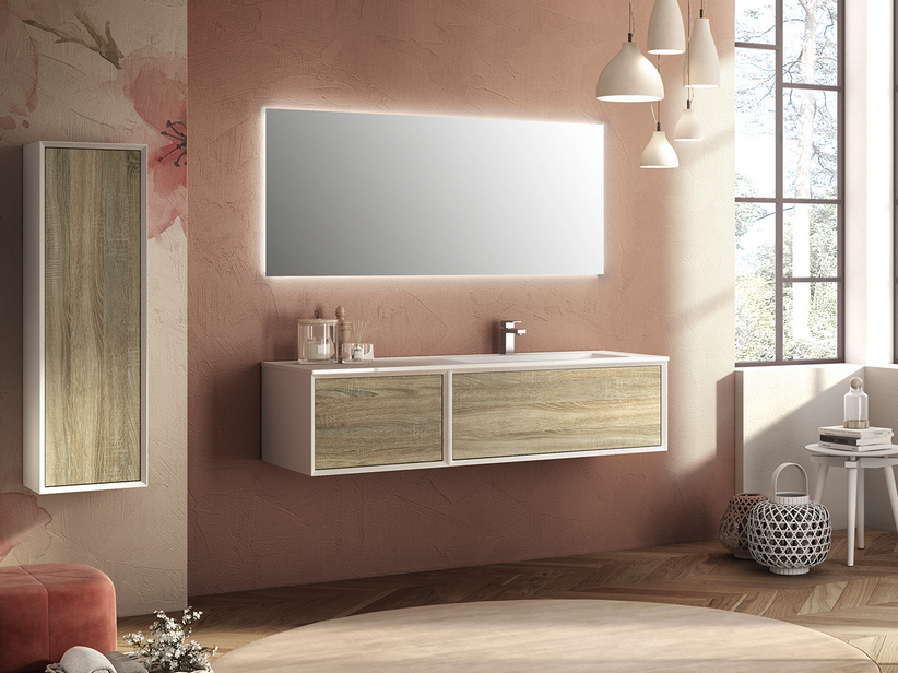 BRERA BATHROOM FURNITURE 140 CM 2 CASSETTI WHITE/LARIX WITH RIGHT WASHBASIN MATT