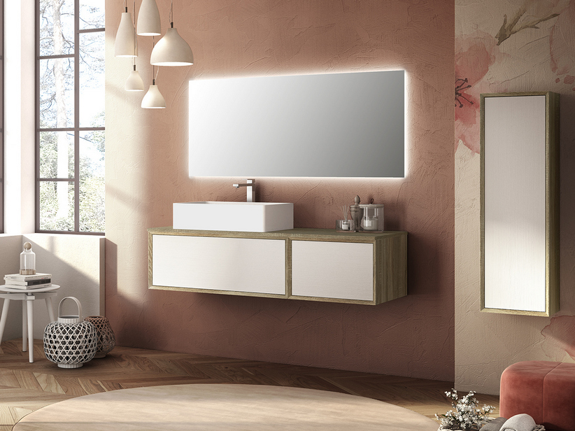 BRERA BATHROOM FURNITURE 140 CM 2 CASSETTI ROVERE LARIX/WHITE MILLERIGHE LEFT TOP