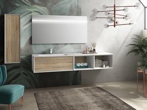 BRERA BATHROOM FURNITURE 190 CM WHITE MILLERIGHE/ROVERE LARIX LEFT WASHBASIN WHITE MATT