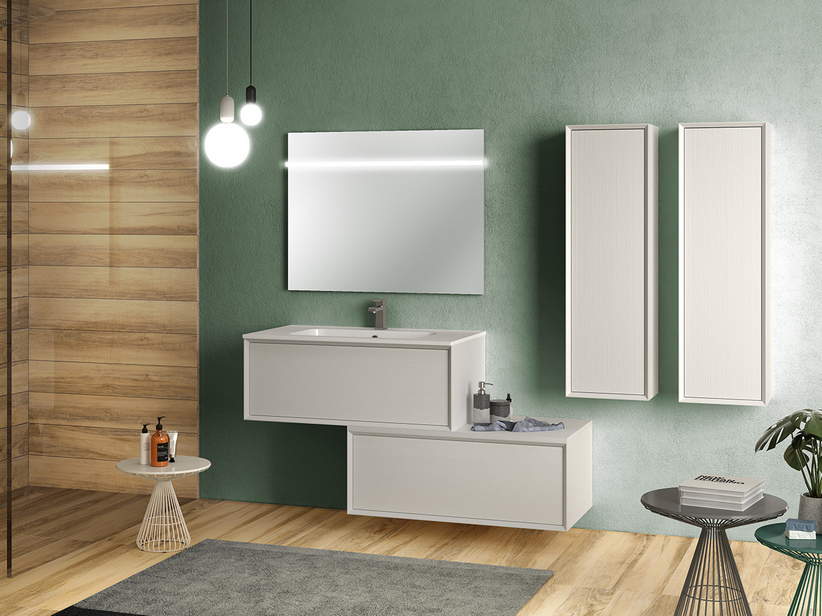 BRERA BATHROOM FURNITURE 90 CM WHITE MILLERIGHE AND LAVABO PLANO GLOSSY WHITE