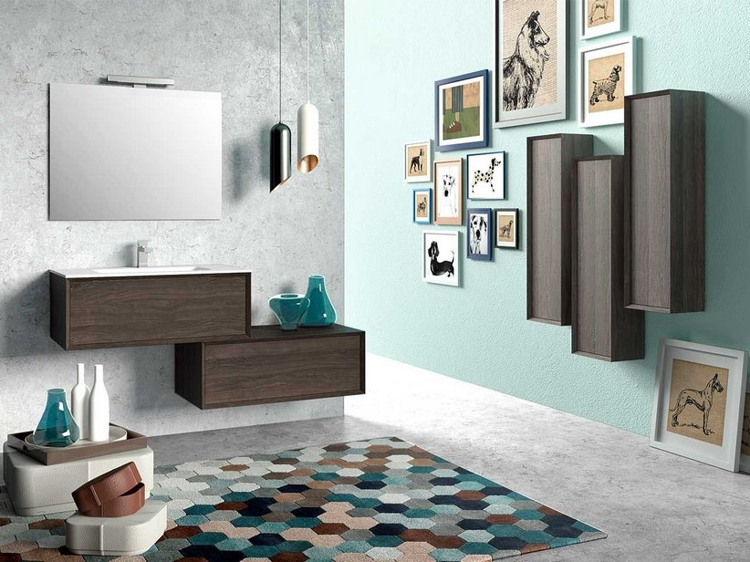 BATHROOM FURNITURE BRERA 90 OLMO LAVA WITH RESIN WASHBASIN HIDE WHITE