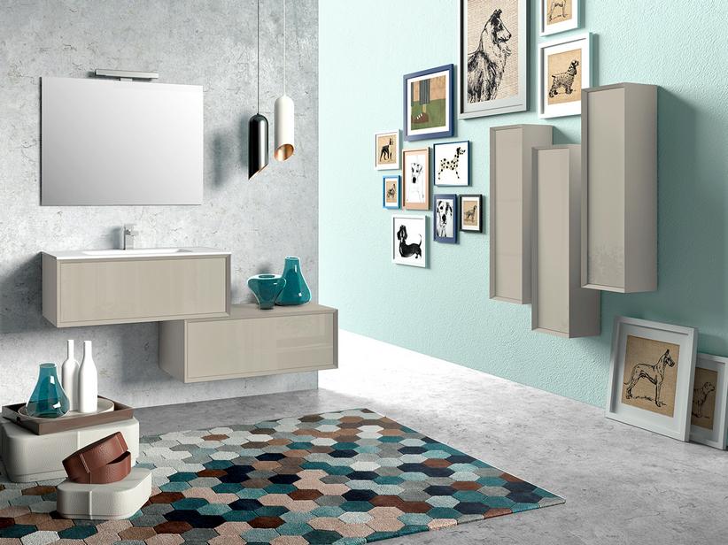 Mobile bagno brera 90 tortora lucido e lavabo resina plano iperceramica - Tappeti moderni verde acido ...