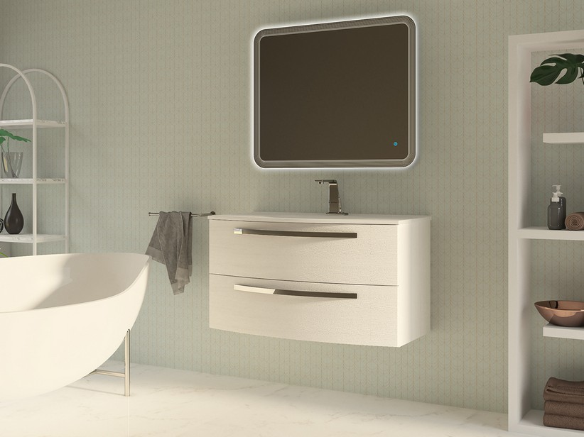 BATHROOM FURNITURE CORALLO 100 CM 2 DRAWER WHITE OAK WITH RESIN UNITOP WASHBASIN