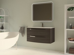 BATHROOM FURNITURE CORALLO 100 CM 2 DRAWER DARK GREY WITH CERAMIC UNITOP WASHBASIN