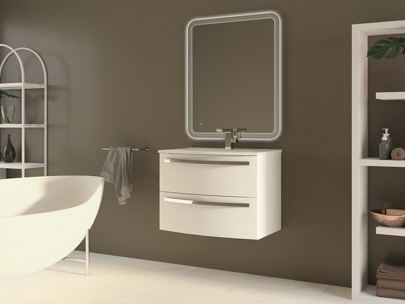 CORALLO BATHROOM FURNITURE 75CM 2 DRAWERS GLOSSY WHITE WITH UNITOP RESIN WASHBASIN GLOSSY WHITE