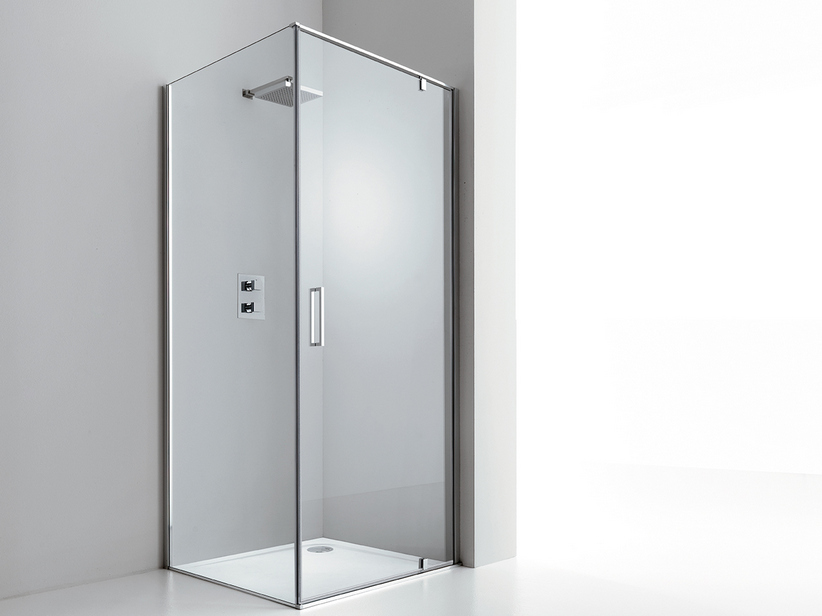 DADO DOOR+FIXED SIDE 100x70 H200 ROTATING HINGED DOORS DX TRANSPARENT CH ROME