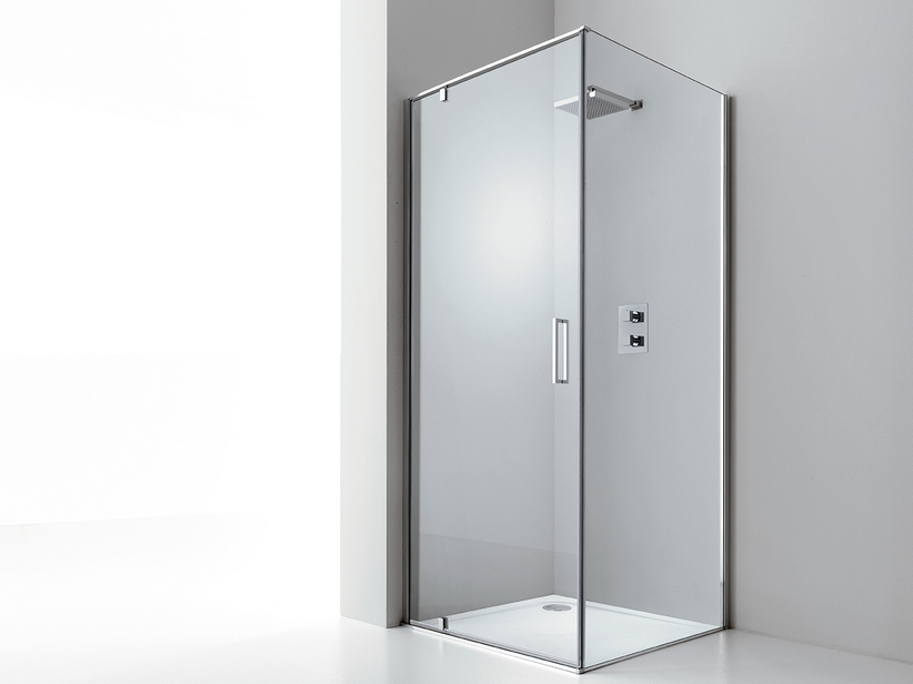 DADO DOOR+FIXED SIDE 70x70 H200 ROTATING HINGED DOORS SX TRANSPARENT CHR OME
