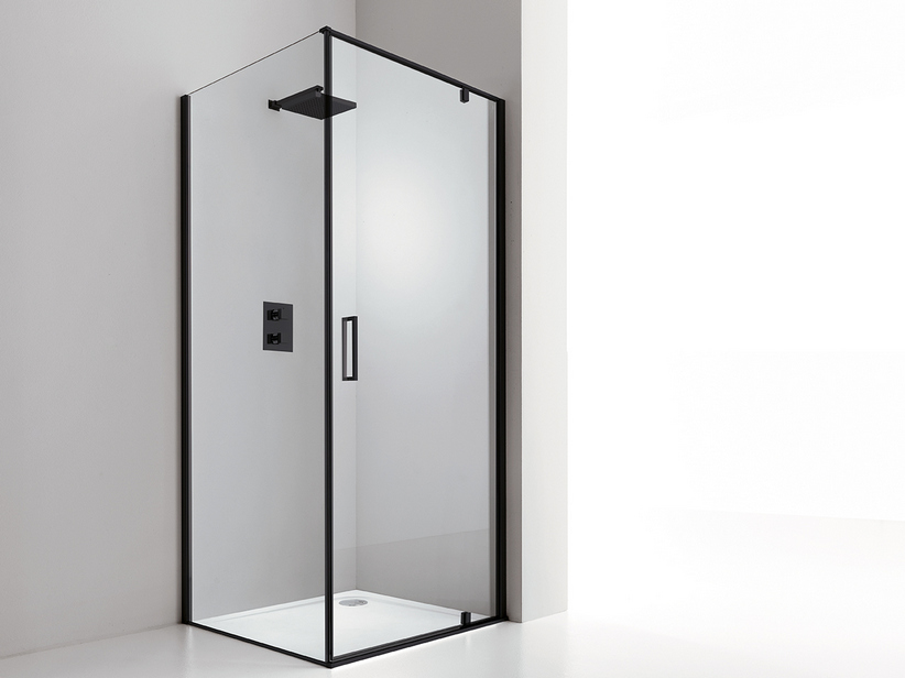 DADO DOOR+FIXED SIDE 90x80 H200 ROTATING HINGED DOORS DX TRASP/ BLACK MATT