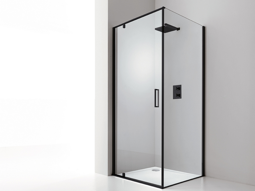 DADO DOOR+FIXED SIDE 70x80 H200 ROTATING HINGED DOORS SX TRASP/ BLACK MATT