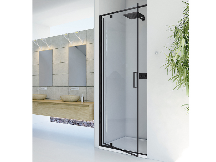 DADO SHOWER DOOR 100 H200 ROTATING HINGED DOORS SX TRASP/ BLACK MATT
