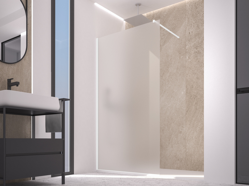 ZEN COLOR WALK IN SHOWER 140-142 CM H200 ETCHED WHITE MATT