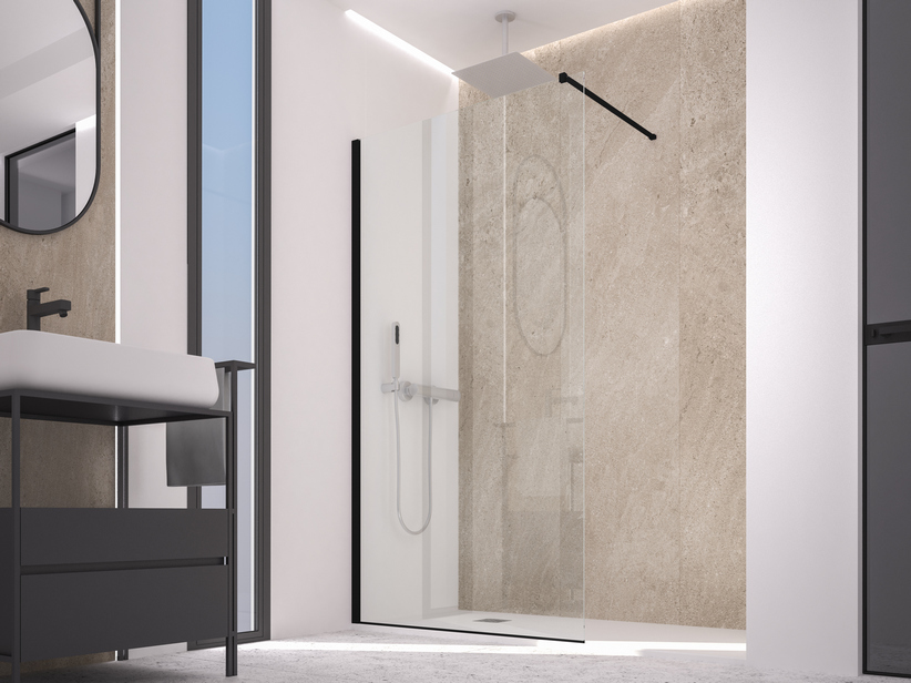 ZEN COLOR WALK IN SHOWER 136-138 CM H200 TRANSPARENT BLACK MATT