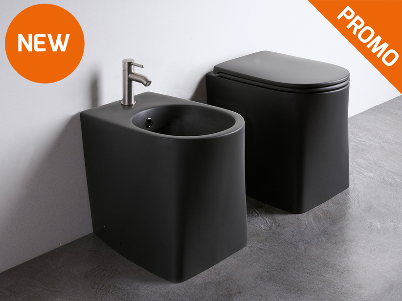 DP Rimless Floor-Mount Sanitary Ware Black Matt