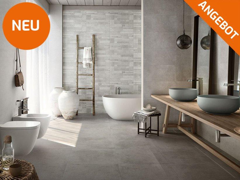 Boden- und Wandfliese für das Badezimmer mit Steinoptik ...