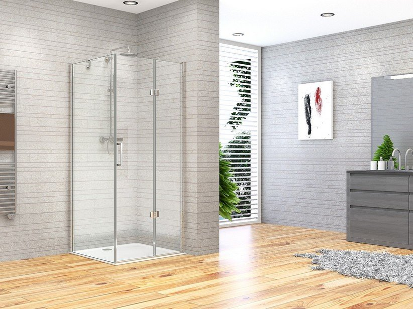 FANTASY2 BE-FOLD SHOWER ENCLOSURE DOOR+FIXED SLIDE 80X80