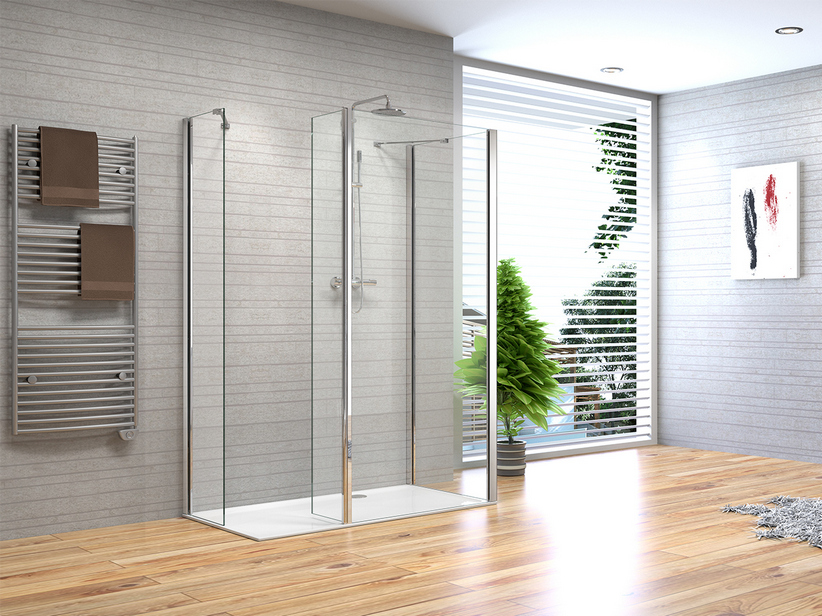 FANTASY2 WALK-IN 3 SIDES 80+70+SPLASH GUARD+40 CHROME