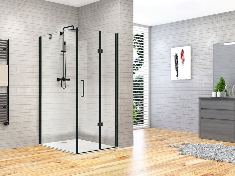 FANTASY2 DOOR+FIXED SIDE BE-FOLD SHOWER 90x70 BLACK MATT