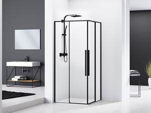 CORNER SHOWER BOX FENG SHUI cm. 80x80 REVERSIBLE SLIDING DOORS PROFILE ULTRA SLIM BLACK MATT