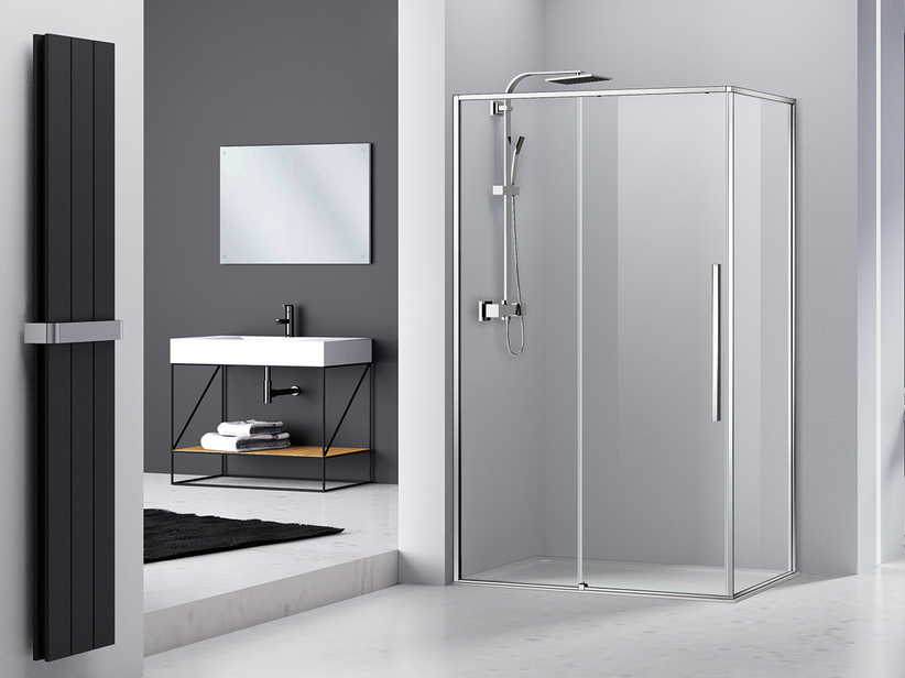 FENG SHUI SHOWER BOX cm 140x90 CORNER PROFILE CHROME