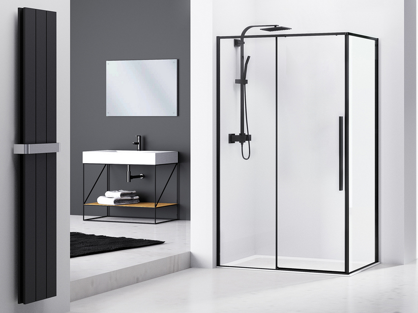 Box Doccia Design.Feng Shui Shower Box Cm 120x80 Corner Profile Black Matt Iperceramica