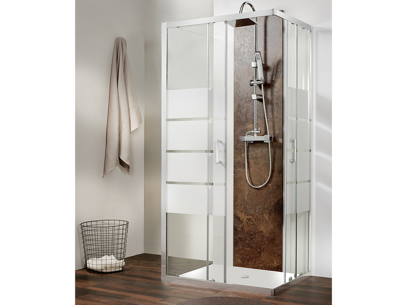 FOXE SHOWER BOX 3 SIDES 80X80X80 H190 SCREEN-PRINTED TRANSPARENT - CHROME