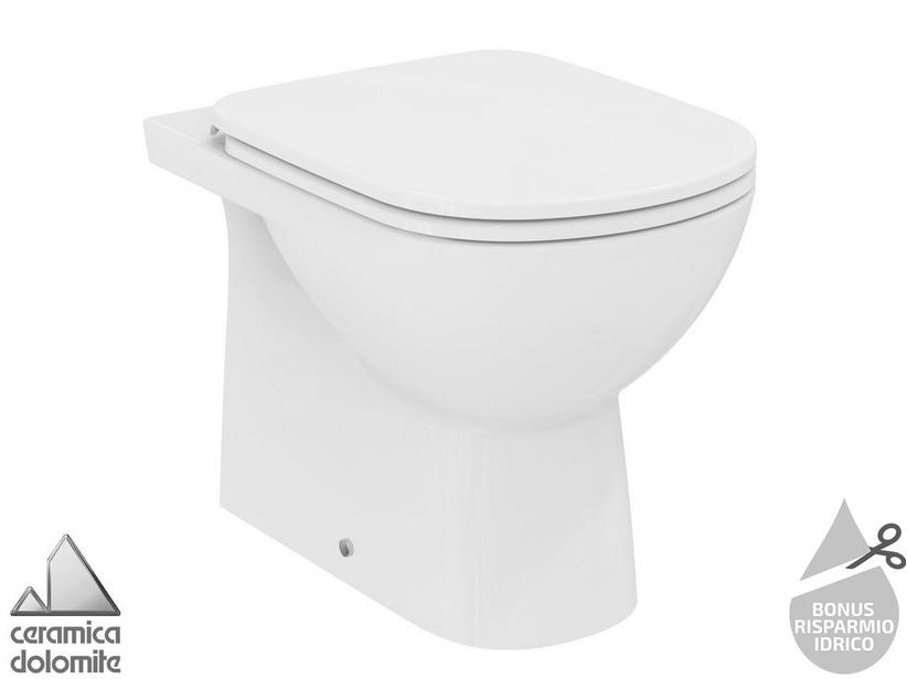 Wc A Terra Ideal Standard Gemma 2 Filomuro Scarico A Parete Pavimento Bianco Lucido A Risparmio Idrico Iperceramica