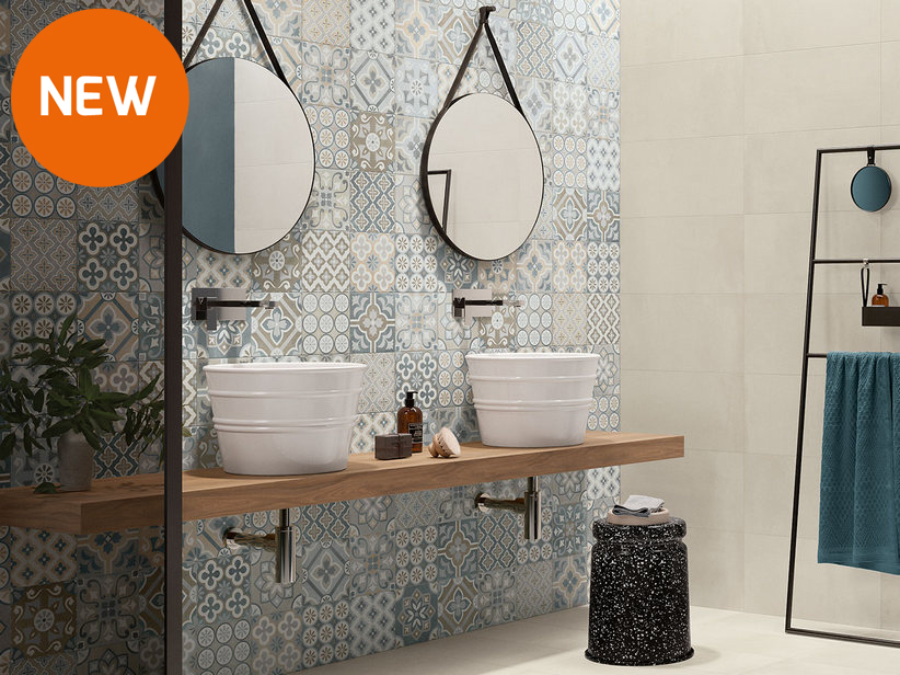 Glossy patchwork effect Double-Fired Wall Tile 20x20 - Glamour