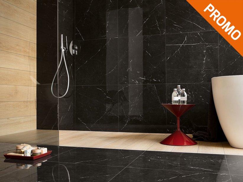 Gres effetto marmo full lappato rettificato marquinia nero
