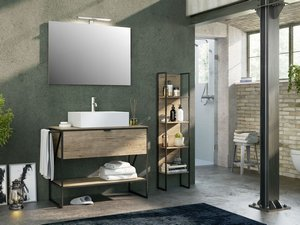 BATHROOM FURNITURE INDUSTRY 100 cm BLACK EMBOSSED/NATURAL OAK SET 04