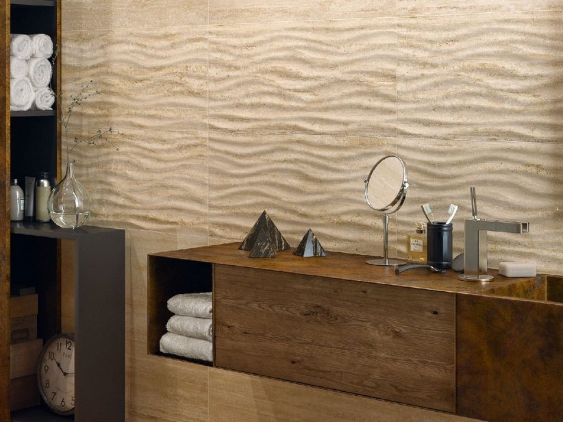 PIASTRELLA JULIA WAVE TRAVERTINO 35X70 EFFETTO ONDA 3D MARMO LUCIDO BEIGE
