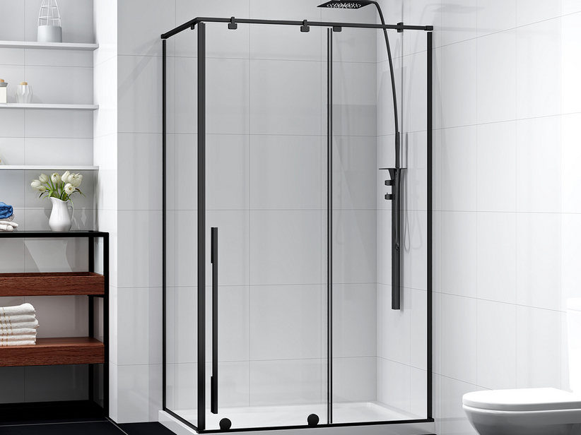 KARMA SHOWER BOX 100x80 H200 REVERSIBLE SLIDING DOORS SOFT-CLOSING WITH FIXED SIDE TRANSPARENT SP 6MM PROFILE BLACK MATT