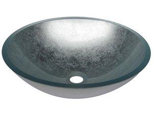 Lavandino Bagno In Vetro Colorato.Lavabo Da Appoggio Pureglass Ciotola Cm O42x14 Cristallo Foglia Argento Iperceramica