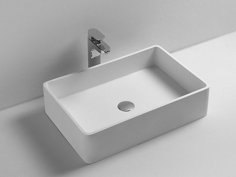 Lavabo da Appoggio Union 60X40 Solid Surface Solid Surface Opaco Bianco