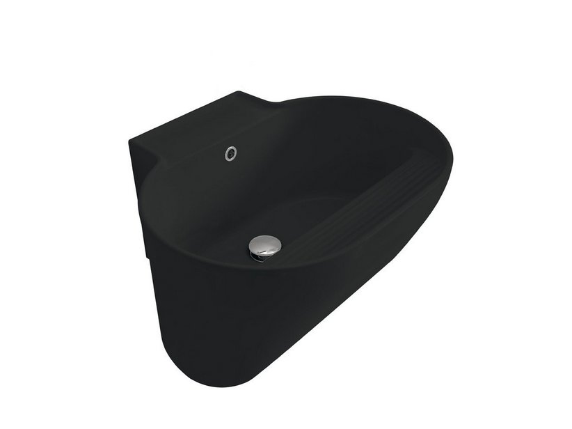 TINO WASHBASIN 60x50xH30 WITH SCRUBBER BLACK MATT