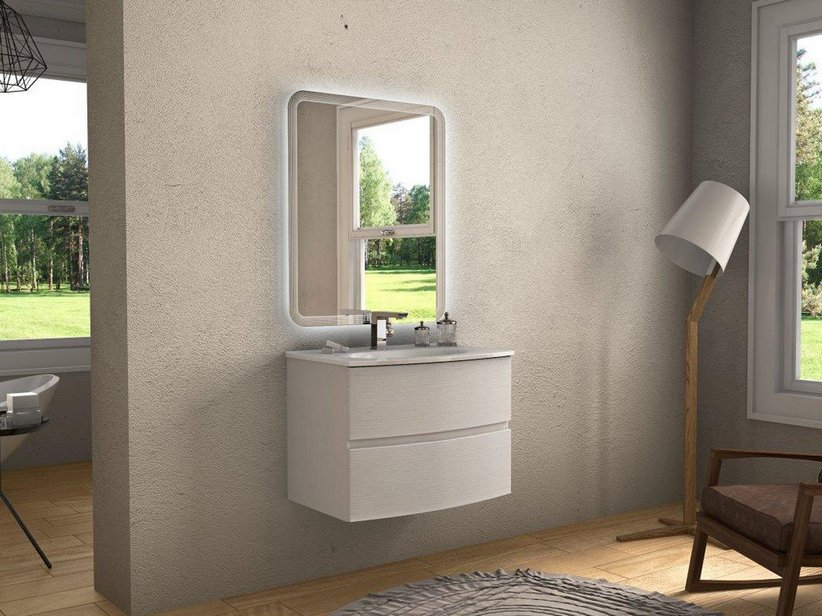 LINDA CURVED BATHROOM FURNITURE 75 CM 2 DRAWERS FRASSINO BIANCO WITH UNITOP WASHBASIN CERAMIC GLOSSY WHITE