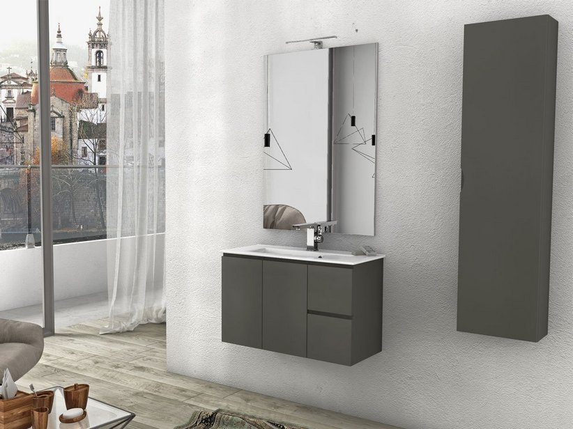 BATHROOM FURNITURE LUANA 101 P36 2 DOORS AND 2 DRAWER TAUPE MATT WITH CERAMIC UNITOP WASHBASIN