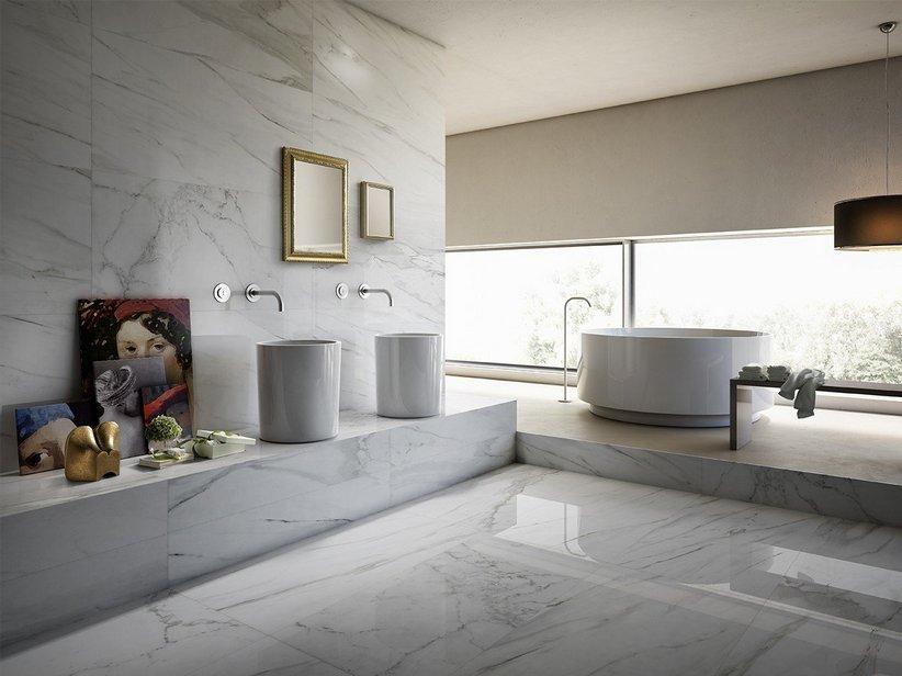 Rivestimento bagno lappato effetto marmo full lappato rettificato