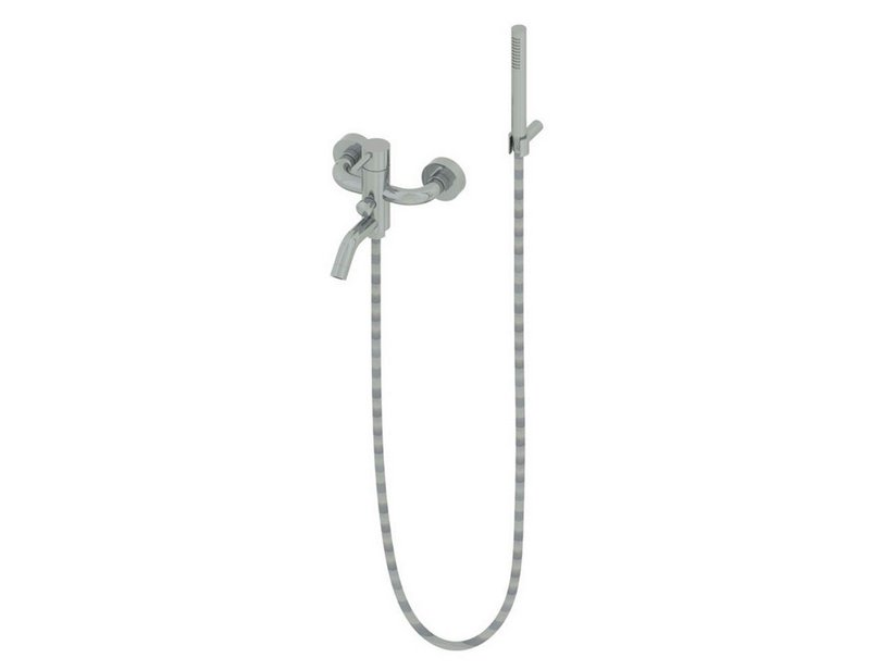 MINIMAL BATH MIXER WITH HAND SHOWER STAINLESS STEEL
