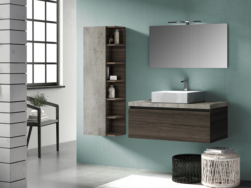 QUBO BATHROOM FURNITURE 100 CM 1 DRAWER LAVA ELM WITH TOP GREY OXYDE
