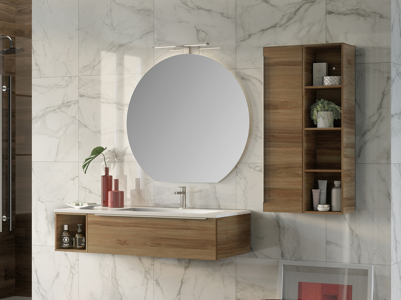 TRENDY BATHROOM FURNITURE 115 CM WALNUT RIGHT WASHBASIN HIDE WHITE MATT