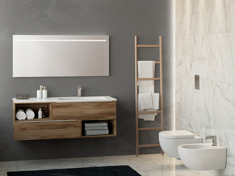 TRENDY BATHROOM FURNITURE 140 CM 2 DRAWERS AND RIGHT GLOSSY WHITE WASHBASIN