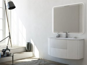 MODO CURVED BATHROOM FURNITURE 121 CM FRASSINO BIANCO AND GLOSSY WHITE WASHBASIN