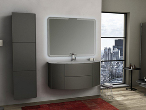 MODO CURVED BATHROOM FURNITURE 121 CM GRIGIO TALPA OP. AND GLOSSY WHITE