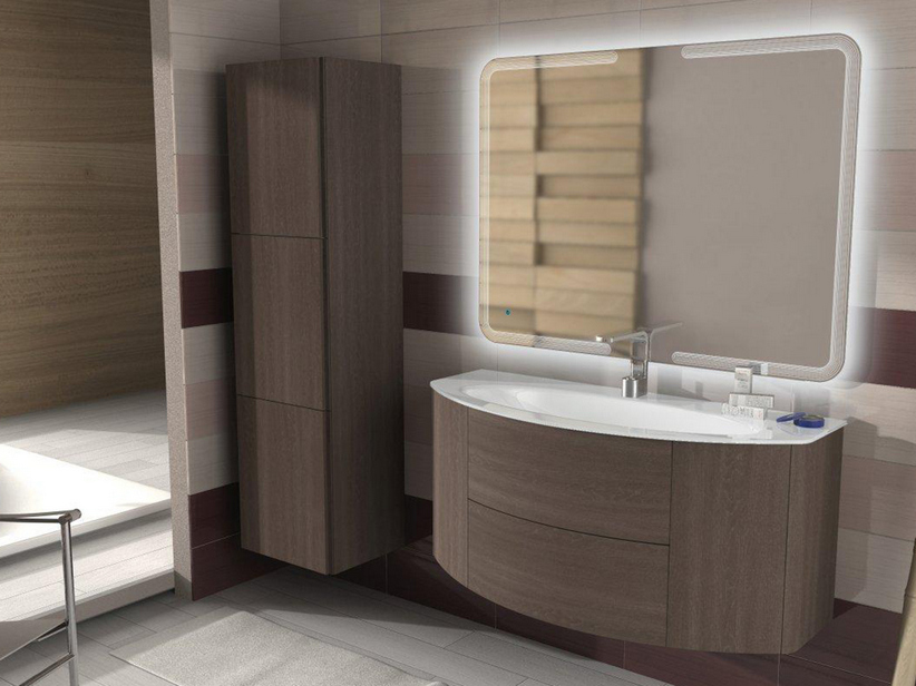 MODO CURVED BATHROOM FURNITURE 121 CM ROVERE SCURO SOFT AND GLOSSY WHITE