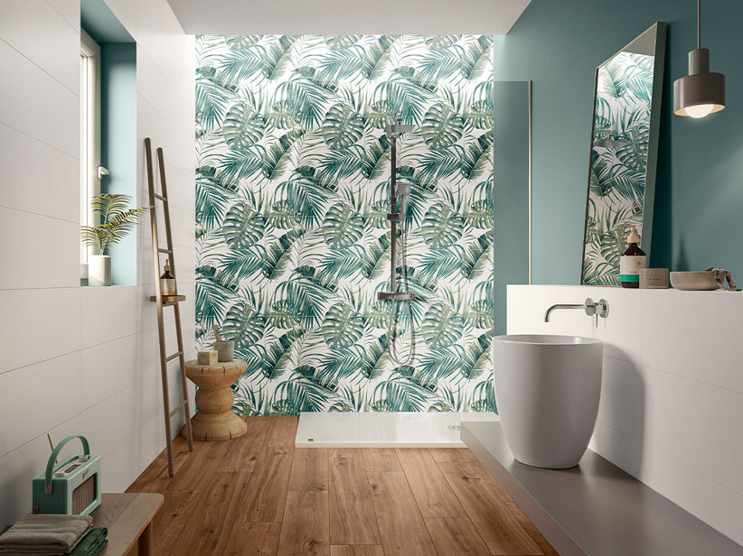 KOMBINATION MYWHITE JUNGLE 75X75 AUS 3 FLIESEN MIT TROPICAL-DEKOR