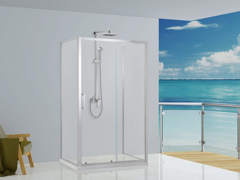 NEPTUM 1 SLIDING DOOR AND 2 SIDES FIXED SHOWER ENCLOSURE 70X120X70