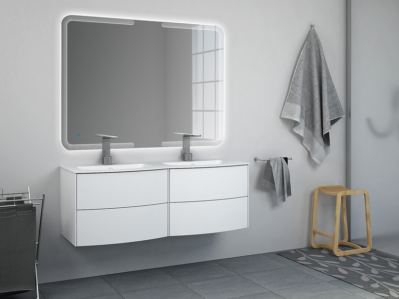 OLAS 123 DOUBLE CABINET AND BASIN WHITE MATT