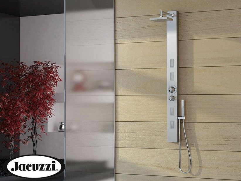 JACUZZI® SKIN SHOWER PANEL WITH THERMOSTATIC MIXER STAINLESS STEEL GLOSSY FINISH
